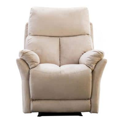 Manual Fabric Recliner Chair Beige Tufted Soft Recliner for Living Room Modern Sofa