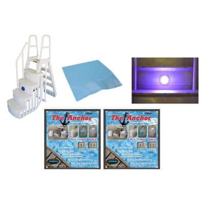 Above Ground Pool Ladder Steps with Pad Plus 2 Weights Plus LED Lite