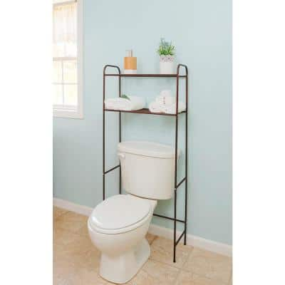 20 in. W x 54 in. H x 11 in. D Bronze Over-the-Toilet Storage