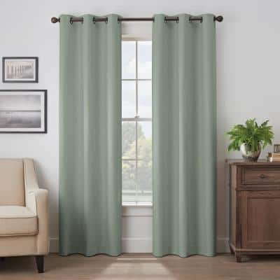Martina Absolute Zero 40 in. W x 84 in. L Grommeted Blackout Window Curtain in Eucalyptus