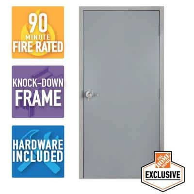 36 in. x 80 in. Left-Hand Galvanneal Steel Mill Primed Commercial Door Kit with 90 Minute Fire Rating & Knock Down Frame