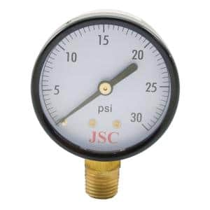 30 PSI Pressure Gauge with 3-1/2 in. Face and 1/4 in. MIP Brass Connection