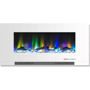 42 in. Wall-Mount Electric Fireplace in White with Multi-Color Flames and Driftwood Log Display