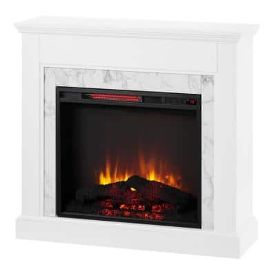 Northglenn 36 in. Freestanding Faux Marble Surround Electric Fireplace in White Oak