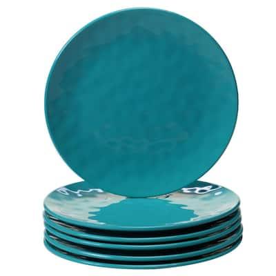 6-Piece Teal Salad Plate Set