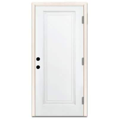 36 in. x 80 in. Premium 1-Panel Primed White Steel Prehung Front Door with 36 in. Left-Hand Outswing and 4 in. Wall