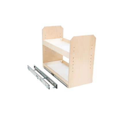 Made-To-Fit 2 Tier Adjustable Tower Cabinet Organizer 6 in. to 24 in. Wide Full-Extension Soft Close