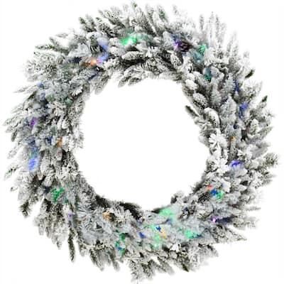 36 in. Pre-Lit Flocked Wreath Arrangement with Pinecones