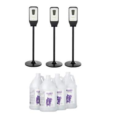 1200 ml. Automatic Wall Mount 3-Piece Sanitizer Dispenser with Floor Stand and Case of 1 Gal. Gel Sanitizer