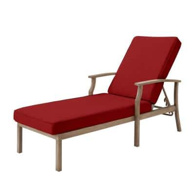 Beachside Rope Look Wicker Outdoor Patio Chaise Lounge with CushionGuard Chili Red Cushions