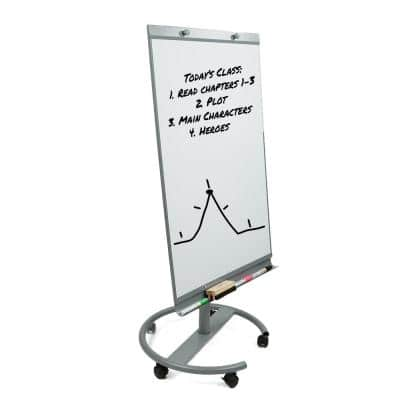 Portable Magnetic Dry Erase Easel 360° Rotating Board, White