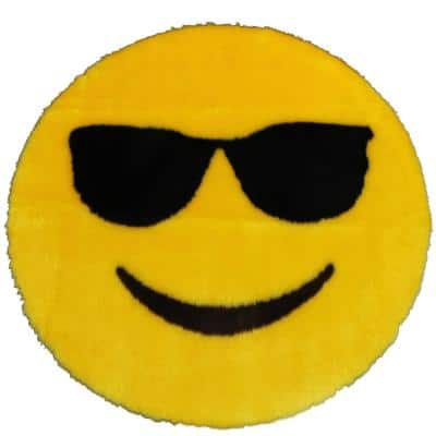 Sunglasses Emoji Yellow  2 ft. x 2 ft. Luxuriously Soft and Eco Friendly Round Faux Fur Kids Play Area Rug