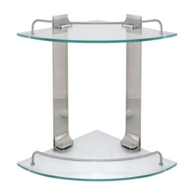 9.5 in. W Double Glass Corner Shelf with Pre-Installed Rails in Satin Nickel