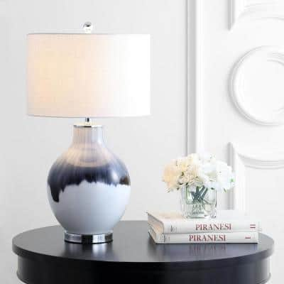 Mia 27 in. Blue/White Glass/Metal LED Table Lamp