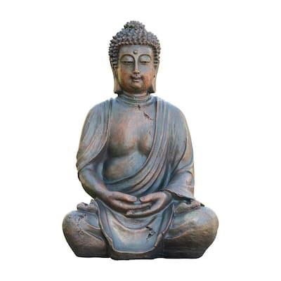 15 in. Tall Indoor/Outdoor Meditating Buddha Statuary Decor