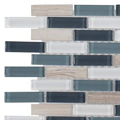 Dolphin Tail Blue 4.62 in. x 4.5 in. Interlocking Gloss Glass Mosaic Wall Tile Sample