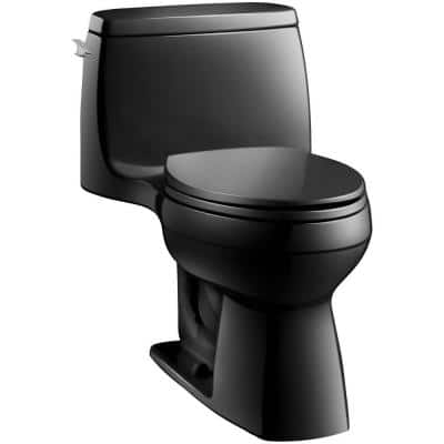 Santa Rosa Comfort Height 1-piece 1.6 GPF Single Flush Compact Elongated Toilet with AquaPiston Flush in Black Black