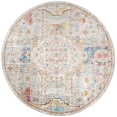 Parlin Ivory/Multi 7 ft. 10 in. x 7 ft. 10 in. Round Indoor Area Rug