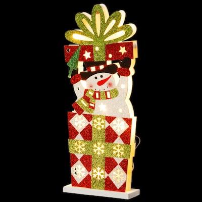 Pre-Lit 17 in. Wooden Gift Box Snowman
