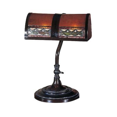 14 in. Egyptian Mica Bronze Desk Lamp