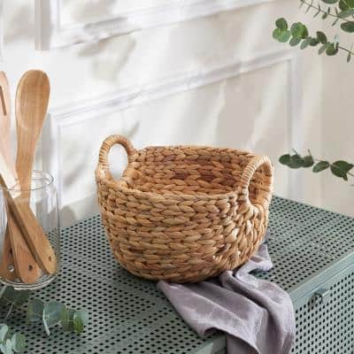 Ellie Hand-Woven Water Hyacinth Picnic Grocery Organizing Decorative Basket (Set of 2)