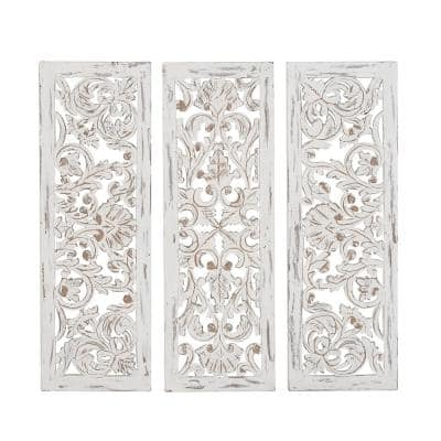 """""""Floral and Flourish Carvings"""" Wooden Wall Art (Set of 3)"""