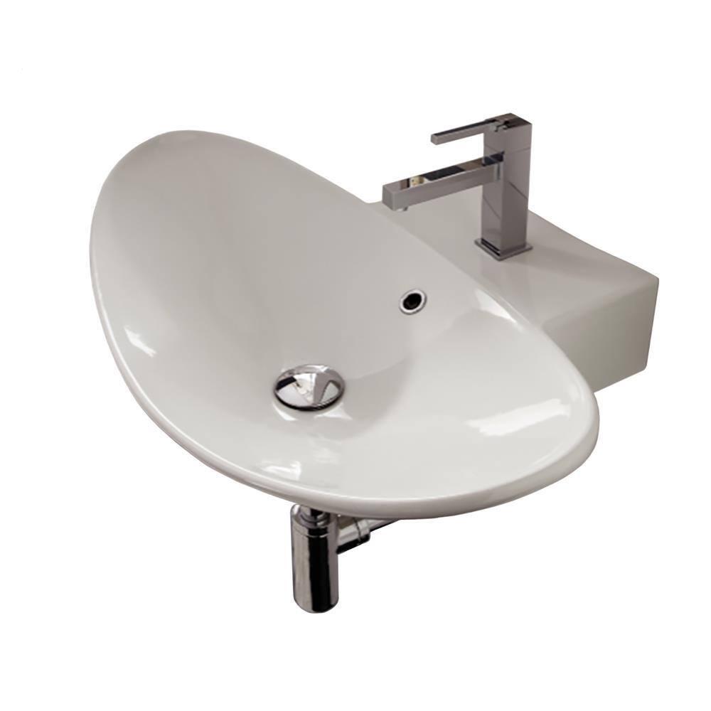 Nameeks Zefiro Wall Mounted Bathroom Sink In White Scarabeo 8205 One Hole The Home Depot
