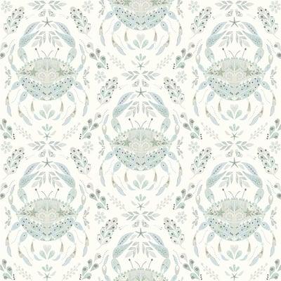 Annapolis Teal Crustation Green Wallpaper Sample