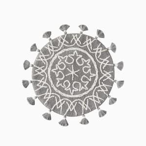 Gray 25 in. x 25 in. Cotton Medallia Bath Rug