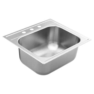 1800 Series Stainless Steel 25 in. 3-Hole Single Bowl Drop-In Kitchen Sink