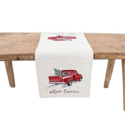 15 in. x 70 in. Merry Christmas Truck Embroidered Table Runner, Natural