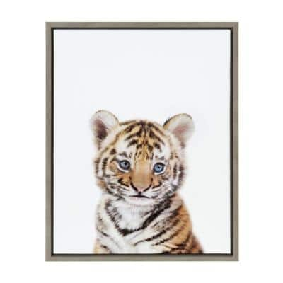 """Sylvie """"Baby Tiger Portrait"""" by Amy Peterson Art Studio Framed Canvas Wall Art"""
