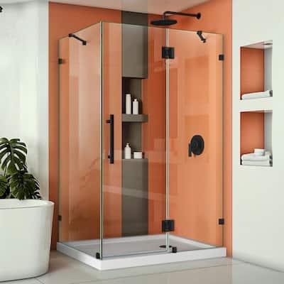 Quatra Lux 46-3/8 in. W x 34-1/4 in. D x 72 in. H Frameless Corner Hinged Shower Enclosure in Satin Black