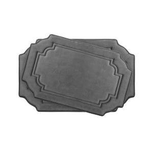 Calypso Dark Gray Memory Foam 2-Piece Bath Mat Set