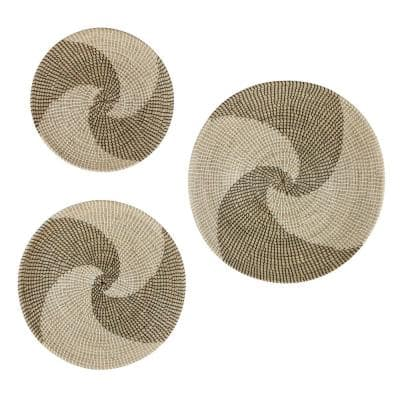 Beige Dried Plant Material Contemporary Abstract Wall Decor (Set of 3)