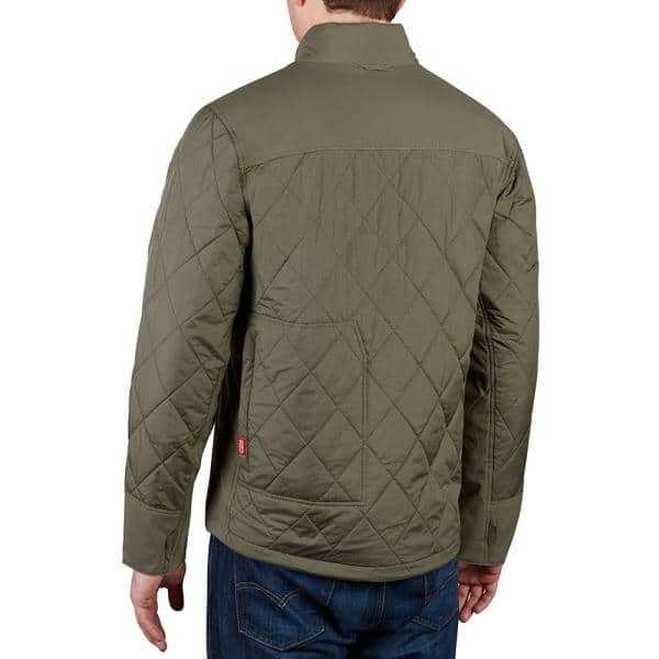 Milwaukee Men S Large M12 12 Volt Lithium Ion Cordless Olive Green Heated Quilted Jacket Jacket Only 203og 20l The Home Depot