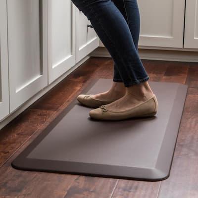 NewLife Designer Leather Grain Truffle 20 in. x 48 in. Anti-Fatigue Comfort Kitchen Mat