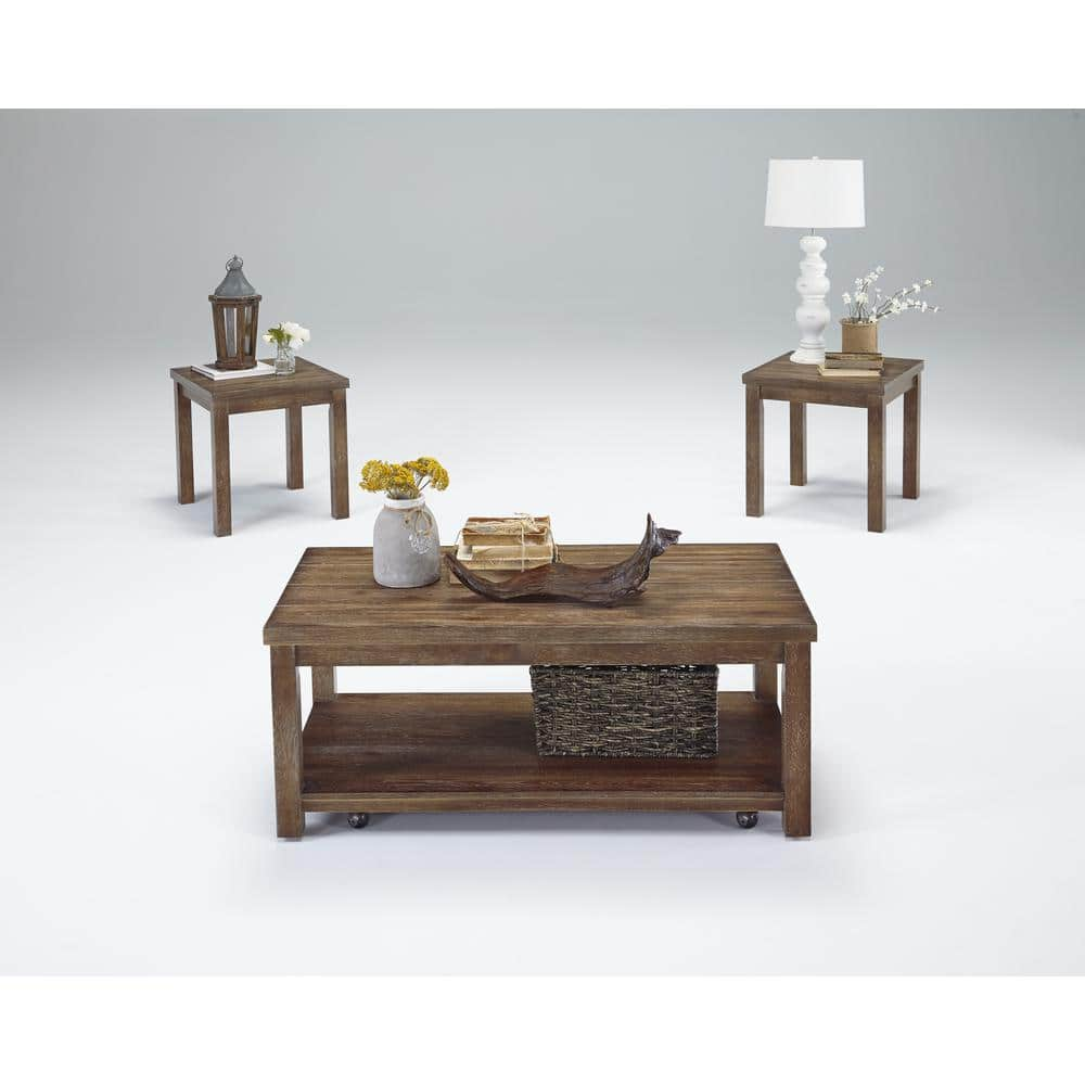 Progressive Furniture Silverton 3 Piece Driftwood Rectangle Wood Coffee Table Set With Casters T218 95 The Home Depot
