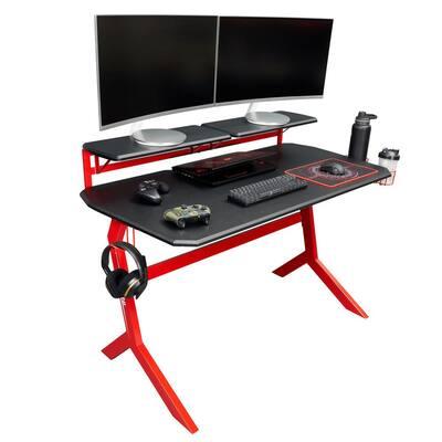 26 in. Rectangular Black/Red Computer Desk with Adjustable Shelves