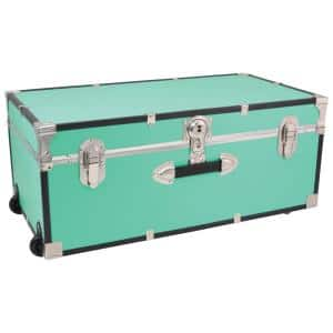 Seward Traveler 30 in. Teal Trunk with Wheels and Lock, 12.25 in. H x 15.75 in. D, Engineered Wood