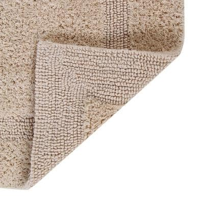 Lux Collection Sand 20 in. x 20 in. Contour 100% Cotton Reversible Race Track Pattern Bath Rug