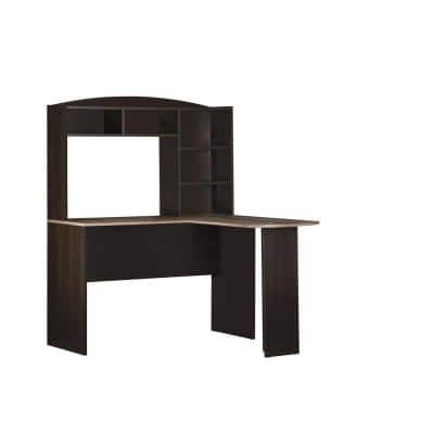 47.5 in. L-Shaped Brown Computer Desks with Hutch