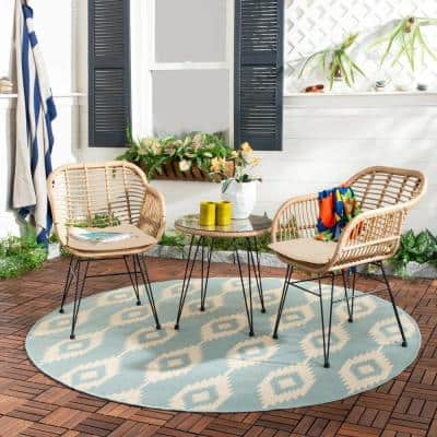 3-Piece Outdoor Bistro Wicker Patio Set with Glass Table and Chairs Seat Beige Cushion