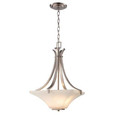 Cameo 2-Light Brushed Nickel Pendant with Frosted Glass Shade