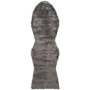 Faux Sheep Skin Grey 3 ft. x 8 ft. Runner Rug