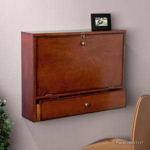 26 in. Mahogany Brown Rectangular 1 -Drawer Floating Desk with Wall Mounted Feature