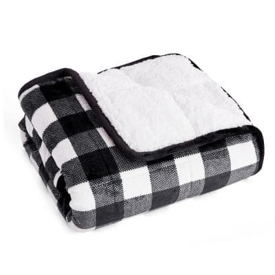 Black and White Buffalo Kids Velvet to Sherpa Reverse 40 in. x 60 in. x 6 lbs. Weighted Throw Blanket