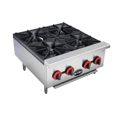 24 in. Commercial Gas Hotplate Cooktop in Stainless Steel with 4 Burners