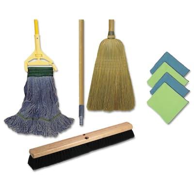Cleaning Kit, 1 Mop, 2 Handles, 1 Push Broom, 1 Maids Broom, 4 Microfiber Wipes, Wet Mop Pad Refills
