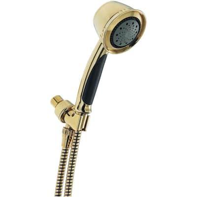 5-Spray 3.8 in. Single Wall Mount Handheld Shower Head in Polished Brass